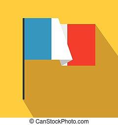 icona, appartamento, stile, bandiera, francia