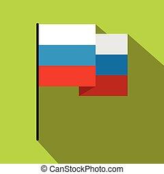 icona, appartamento, stile, bandiera, russia
