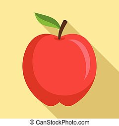 icona, appartamento, stile, mela, rosso