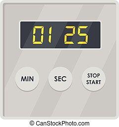 icona, appartamento, stile, mostra, timer