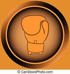 icona, arancia, guanto pugilato