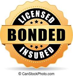 icona, assicurato, bonded, concesso in licenza