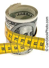 icona, austerità, pacchetto, con, conto dollaro