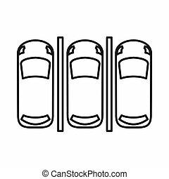 icona, automobile, stile, contorno, parcheggio