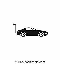 icona, automobile, stile, elettrico, semplice