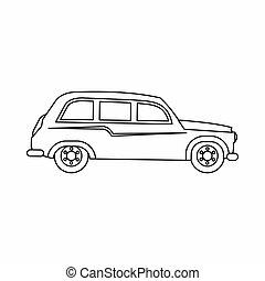icona, automobile, stile, retro, contorno