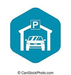 icona, automobile, stile, semplice, parcheggio