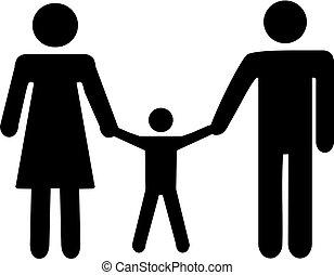 icona, bambino, padre, famiglia, madre