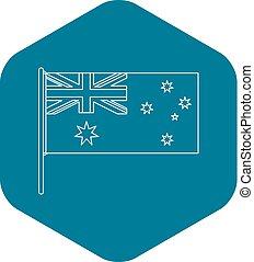 icona, bandiera australiana, stile, contorno