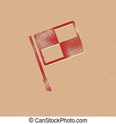 icona, bandiera, -, guardalinee, halftone