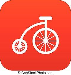 icona, bicicletta, bambini, rosso, digitale
