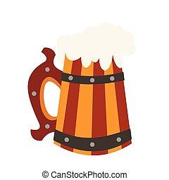 icona, birra, legno, tazza