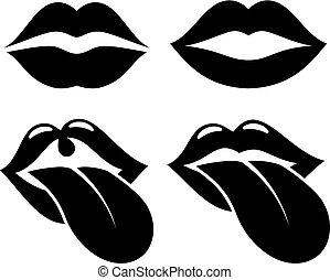 icona, bocca, vettore