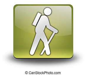 icona, bottone, andando gita, pictogram