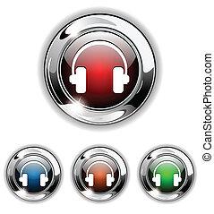 icona, bottone, vettore, cuffie