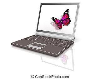 icona, burro, laptop