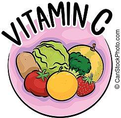 icona, c, vitamina