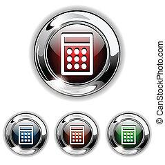 icona, calcolatore, vettore, malato, bottone