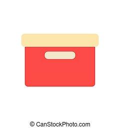 icona, cartone, ufficio, disegno, scatola, appartamento