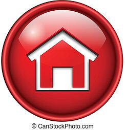 icona, casa, button.