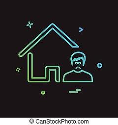 icona casa, disegno, vettore