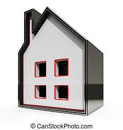 icona casa, mostra, vendita, casa