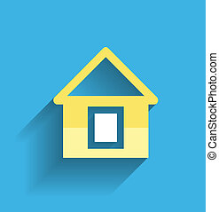 icona casa, vettore, moderno, appartamento, disegno