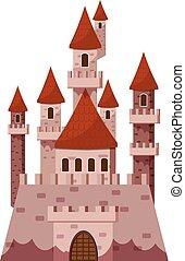 icona, castello, pietra, stile, cartone animato