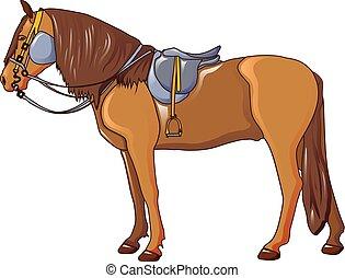icona, cavallo, cowboy, stile, cartone animato
