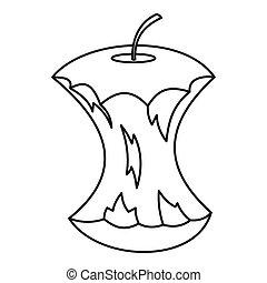 icona, centro, stile, mela, contorno