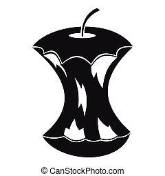 icona, centro, stile, mela, semplice