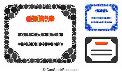 icona, cerchi, mosaico, certificato