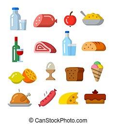 icona, cibo, set