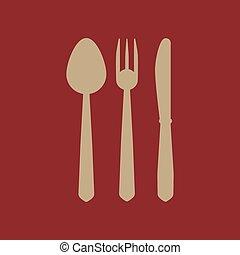 icona coltello, forchetta, cucchiaio