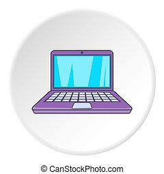 icona computer, appartamento, stile