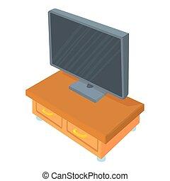 icona computer, cartone animato, stile