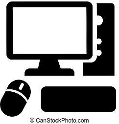 icona computer, con, topo, e, tastiera