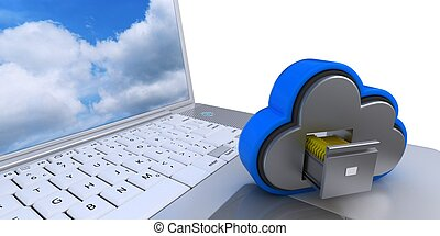 icona, computer guida, nuvola, 3d