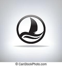 icona, con, il, immagine, di, yacht