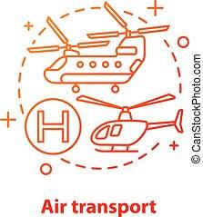 icona, concetto, trasporto, aria