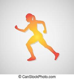 icona, correndo, ragazza, con, uggia, in, orange., vettore, illustrazione