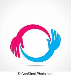 icona, creativo, mano
