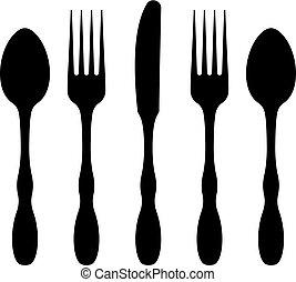 icona, cucchiaio, forchetta, coltello, coltelleria
