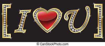 icona, dorato, lei, amore