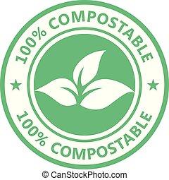 icona, eco, pacco, etichetta, -, prodotto, sigillo, non, compostable, libero, plastica, tossico