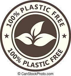 icona, eco, pacco, -, prodotto, sigillo, non, foglie, libero, plastica, tossico
