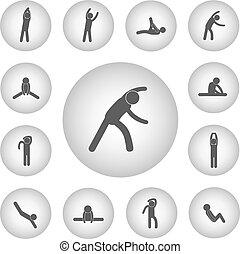 icona, esercizio, corpo, fondamentale