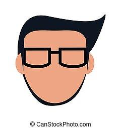 icona, faceless, uomo, occhiali