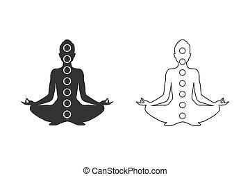icona, figura, yoga, set, uomo, position., concetto, meditazione, simboli, linea, chakras, vettore
