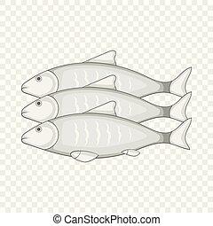 icona, fish, stile, cartone animato, tre